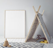 Mock up poster frame in hipster room, scandinavian style interior background, 3D render. 3D illustration Royalty Free Stock Photo