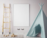 Mock up poster frame in hipster room, scandinavian style interior background, 3D render Stock Images