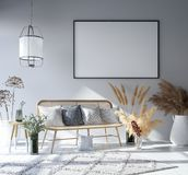 Mock up poster frame in home interior background, Bohemian style living room. 3D rendernn vector illustration