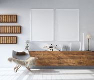 Mock up poster frame in home interior background, Bohemian style living room. 3D render vector illustration