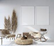 Mock up poster frame in home interior background, Bohemian style living room. 3D render royalty free illustration