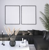 Mock up poster frame in home interior background, Modern style living room royalty free illustration