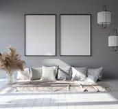 Mock up poster frame in home interior background, Scandinavian Bohemian style living room in attic. 3D render vector illustration