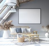 Mock up poster frame in home interior background, Scandinavian Bohemian style living room in attic. 3D render vector illustration