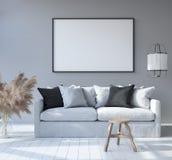 Mock up poster frame in home interior background, Scandinavian Bohemian style living room. 3D render stock illustration