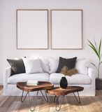 Mock up poster frame in home interior background, Scandinavian Bohemian style living room. 3D render vector illustration