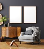 Mock up poster frame in home interior background, Scandinavian style. 3D render royalty free stock photos