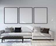 Free Mock Up Poster Frame In Home Interior Background, Modern Style Living Room Royalty Free Stock Image - 134438386