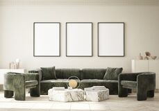 Free Mock Up Poster Frame In Modern Interior Background Living Room Art Deco Style 3D Render Stock Photos - 216126923