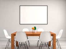 Mock up poster frame, interior background, 3D illustration Royalty Free Stock Photos