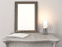 Mock up poster frame in interior background. 3D Illustration Royalty Free Stock Photo
