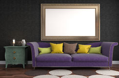 Mock up poster frame in interior background. 3D Illustration Royalty Free Stock Photography