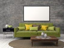 Mock up poster frame in interior background. 3D Illustration Stock Images