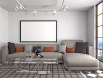 Mock up poster frame in interior background. 3D Illustration Stock Photos