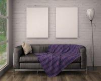Mock up poster frame in interior background. 3D Illustration. 3d render Stock Images