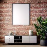 Mock up poster frame in Interior with Brick wall, Loft style, 3D illustration stock photo