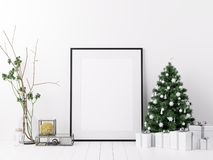 Mock Up Poster Frame Interior White Christmas Winter Decoration. 3d rendering, 3d illustration royalty free illustration