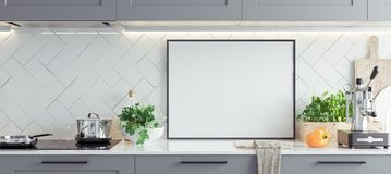 Mock up poster frame in kitchen interior, Scandinavian style, panoramic background. 3d render royalty free stock images