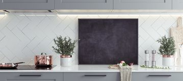 Mock up poster frame in kitchen interior, Scandinavian style, panoramic background. 3d render stock images