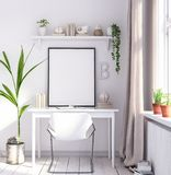 Mock up poster frame in living room, working area, Scandinavian style royalty free stock photos