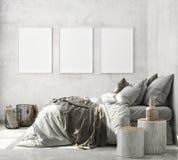 Mock up poster frame in modern interior background, bedroom, Scandinavian style, 3D render