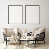 Mock up poster frame in modern interior background, close up, livingroom, Scandinavian style, 3D render