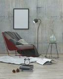 Mock up poster frame,modern interior background 3D Stock Image