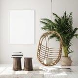 Mock up poster frame in modern interior background, living room, Scandinavian style, 3D render royalty free stock image