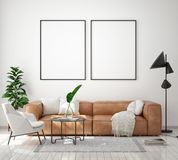 Mock up poster frame in modern interior background, living room, Scandinavian style, 3D render stock photography