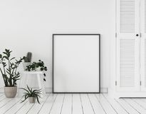 Mock-up poster frame with plants and cupboard standing near wall, Scandinavian style
