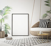 Mock up poster frame in tropical interior background, modern Caribbean style. 3D illustration Royalty Free Stock Images