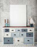 Mock up poster frame with on vintage chest of drawers, hipster interior background. 3D render Royalty Free Stock Photography