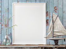 Mock up poster frame with on vintage chest of drawers, hipster interior background, Stock Photo