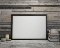 Mock up poster frame in vintage hipster loft interior background Stock Photography