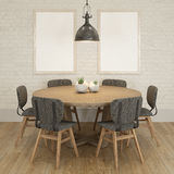 Mock up poster frame at the white brick wall of dining room Stock Photos