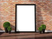 Mock up poster frames and canvas in vintage interior background, Stock Photo