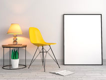 Mock up poster frames with chair background, 3D illustration Stock Photos