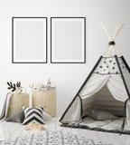 Mock up poster frames in children bedroom, scandinavian style interior background, 3D render. 3D illustration Royalty Free Stock Photography