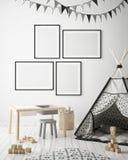 Mock up poster frames in children bedroom, scandinavian style interior background, 3D render. 3D illustration Royalty Free Stock Photo