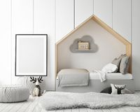 Mock up poster frames in children bedroom, scandinavian style interior background, 3D render Stock Image
