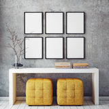 Mock up poster frames in hipster interior background,. 3D render