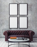 Mock up poster frames in hipster interior background,. 3D render Stock Images