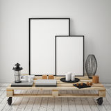Mock up poster frames with vintage hipster loft interior background, Stock Photos