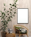 Mock up poster in garden interior background with chair, wooden wall and plants royalty free stock photos