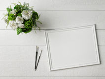 Mock up poster with glamour flowers, Stock Photography