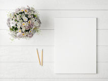 Mock up poster with glamour flowers, Stock Photo