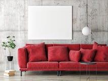 Mock up poster on gray wall, red modern furniture, minimal design. 3d render, 3d illustration royalty free illustration