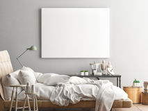 Mock up poster, hipster bedroom Royalty Free Stock Image