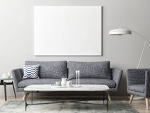 Mock up poster in hipster living room background Royalty Free Stock Photography