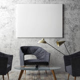 Mock up poster in hipster Living room Royalty Free Stock Photo
